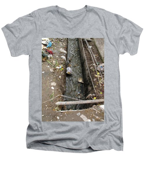 A Dirty Drain With Filth All Around It Representing A Health Risk Men's V-Neck T-Shirt by Ashish Agarwal
