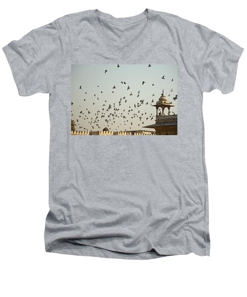 A Flock Of Pigeons Crowding One Of The Structures On Top Of The Red Fort Men's V-Neck T-Shirt by Ashish Agarwal