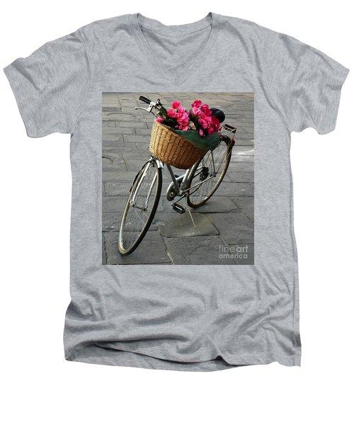 A Flower Delivery Men's V-Neck T-Shirt by Vivian Christopher