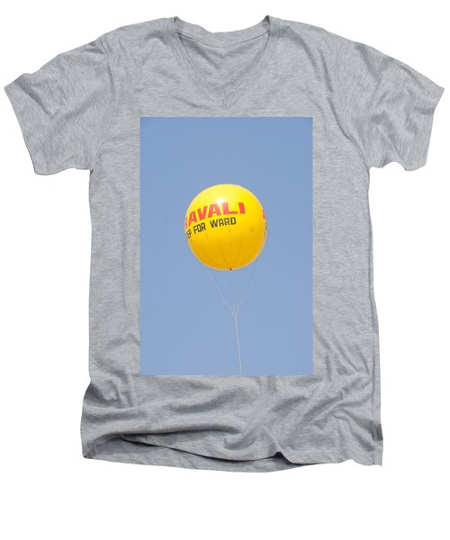 A Hot Air Balloon In The Blue Sky Men's V-Neck T-Shirt by Ashish Agarwal