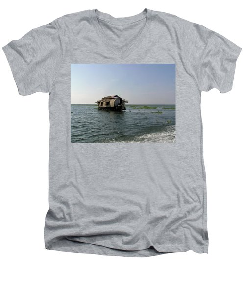 A Houseboat Moving Placidly Through A Coastal Lagoon In Alleppey Men's V-Neck T-Shirt by Ashish Agarwal
