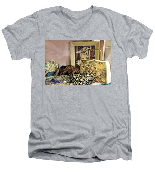 Men's V-Neck T-Shirt featuring the photograph A Little Romance II by Jan Amiss Photography