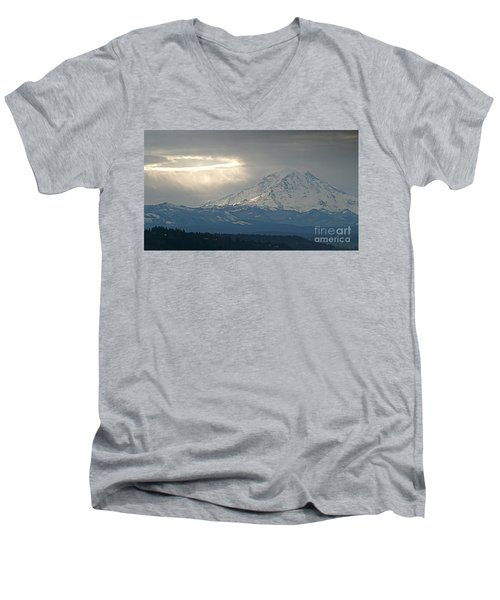 Men's V-Neck T-Shirt featuring the photograph A Ring Of Bright Light Beside Mount Rainier by Sean Griffin