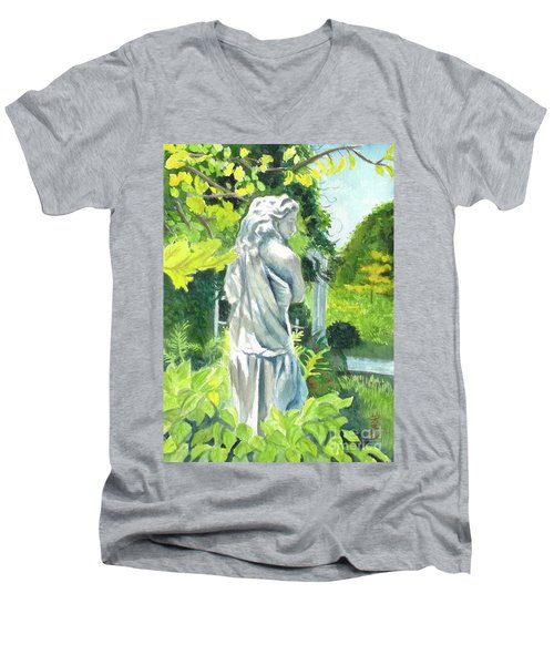 Men's V-Neck T-Shirt featuring the painting A Statue At The Wellers Carriage House -3 by Yoshiko Mishina