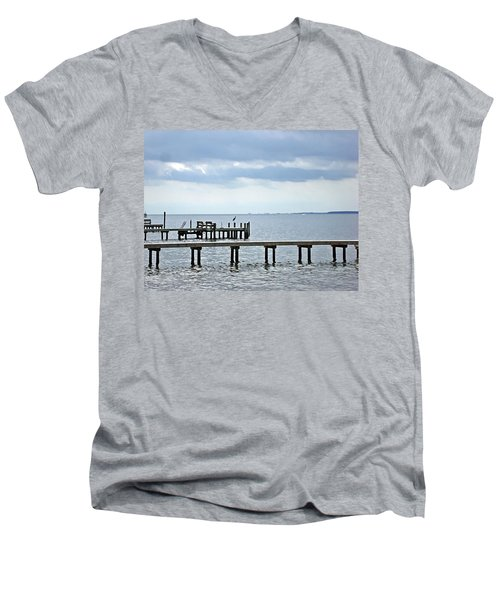 A Stormy Day On The Pamlico River Men's V-Neck T-Shirt