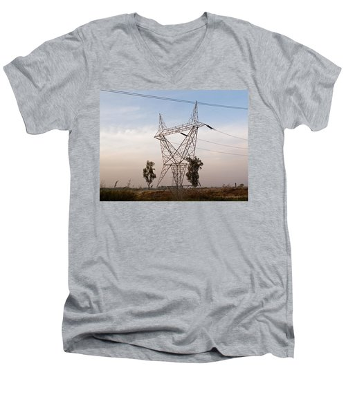 A Transmission Tower Carrying Electric Lines In The Countryside Men's V-Neck T-Shirt by Ashish Agarwal