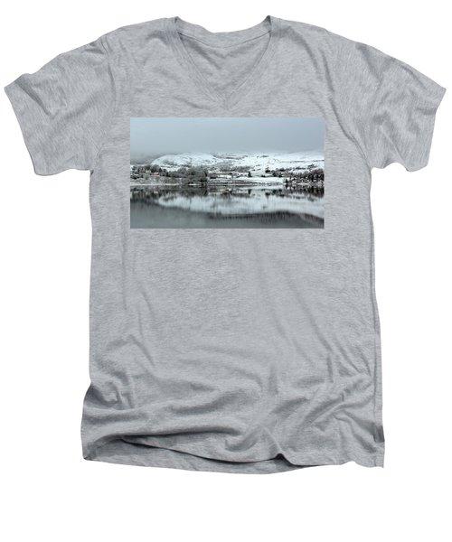 Men's V-Neck T-Shirt featuring the photograph A Winter's Scene by Lynn Bolt