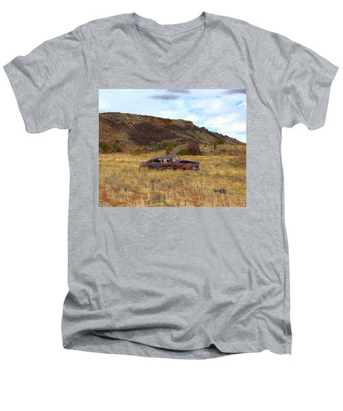 Men's V-Neck T-Shirt featuring the photograph Abandoned Car by Steve McKinzie