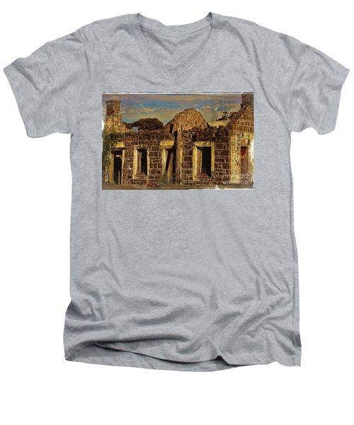 Men's V-Neck T-Shirt featuring the digital art Abandoned Farmhouse by Blair Stuart