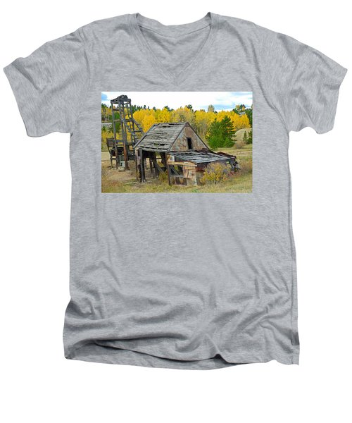 Abandoned Mine In Autumn Men's V-Neck T-Shirt