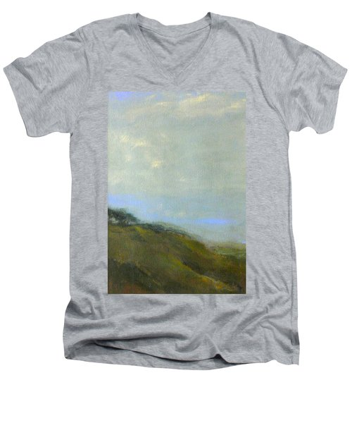 Abstract Landscape - Green Hillside Men's V-Neck T-Shirt
