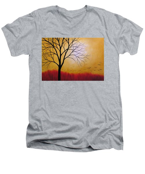 Men's V-Neck T-Shirt featuring the painting Abstract Original Tree Painting Summers Anticipation By Amy Giacomelli by Amy Giacomelli