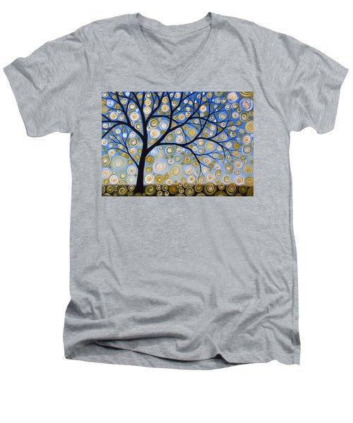 Men's V-Neck T-Shirt featuring the painting Abstract Tree Nature Original Painting Starry Starry By Amy Giacomelli by Amy Giacomelli