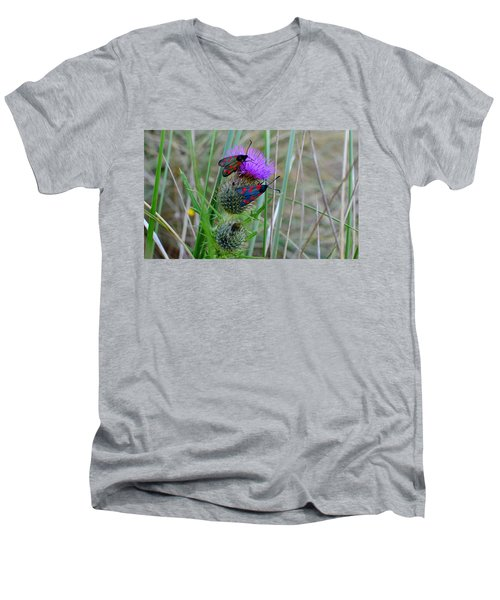 Men's V-Neck T-Shirt featuring the photograph Active by Barbara Walsh