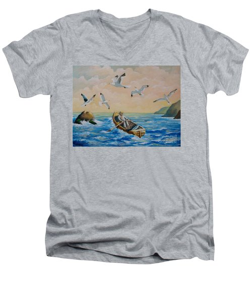 After A Fishing Day Men's V-Neck T-Shirt