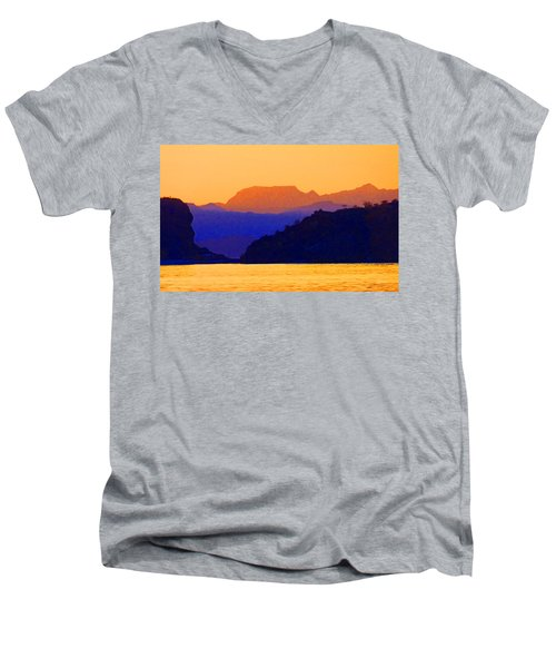 Men's V-Neck T-Shirt featuring the photograph Agua Verde Abstract by Anne Mott