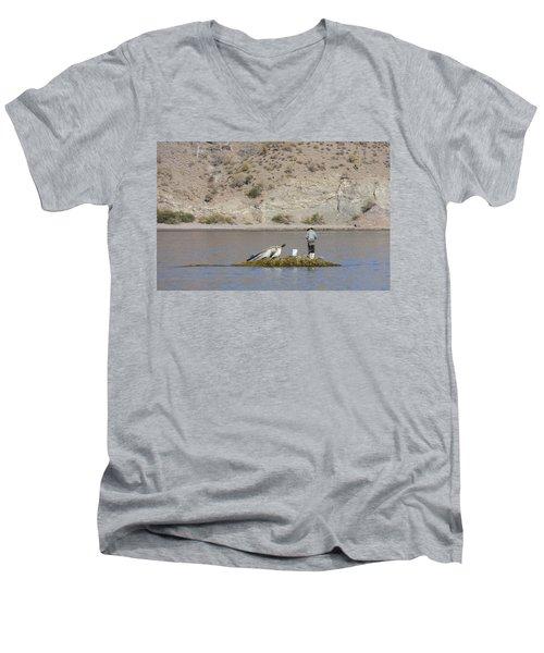 Agua Verde Fisherman  Men's V-Neck T-Shirt by Anne Mott