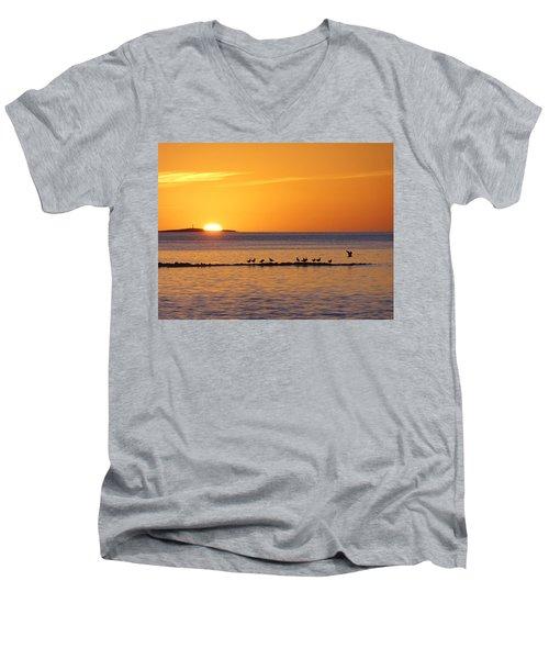 Agua Verde Sunrise Men's V-Neck T-Shirt by Anne Mott