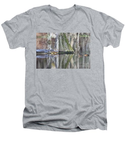 Men's V-Neck T-Shirt featuring the photograph Alligator Waiting For Dinner by Dan Friend