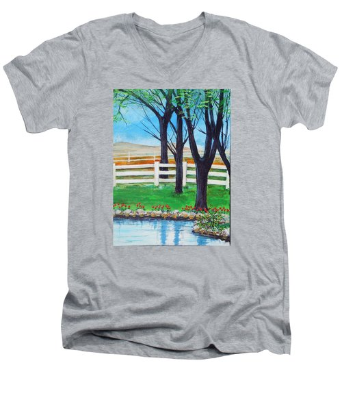 Men's V-Neck T-Shirt featuring the painting Along The Lane by Dan Whittemore