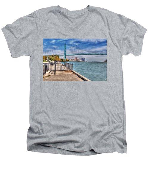 Ambassador Bridge Detroit Mi Men's V-Neck T-Shirt