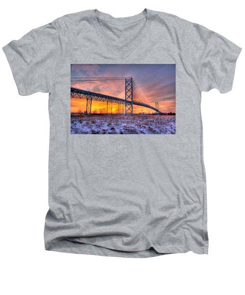 Ambassador Bridge Sunrise 1-16-2012  Detroit Mi Men's V-Neck T-Shirt