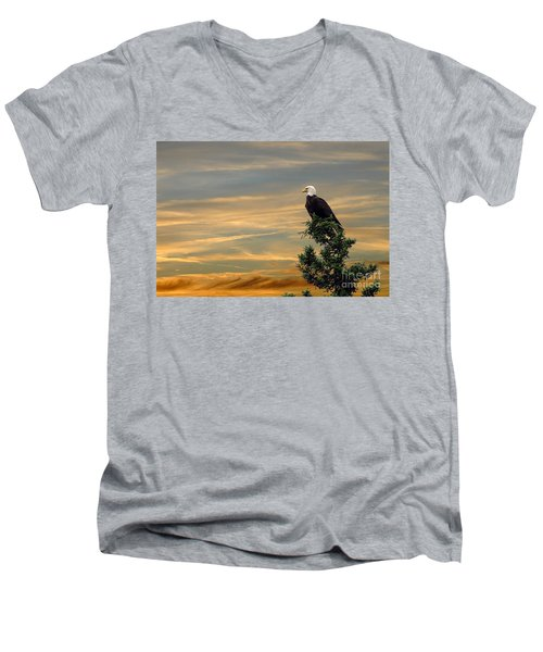 Men's V-Neck T-Shirt featuring the photograph American Eagle Sunset by Dan Friend