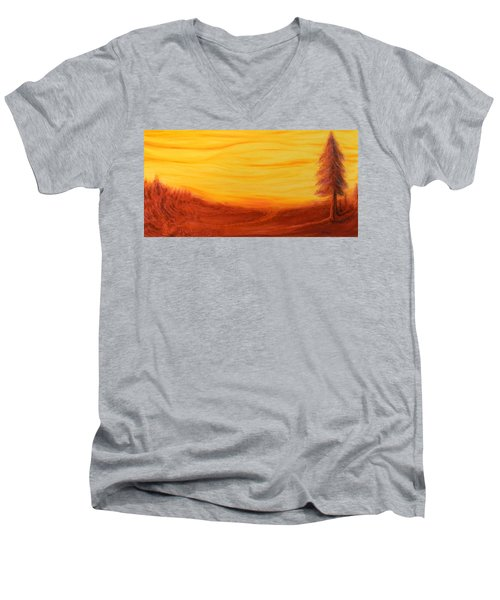 Amoreena's Tree Men's V-Neck T-Shirt by Mark Minier