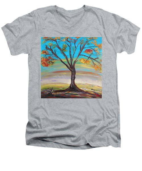 An Autumn Locust Tree Men's V-Neck T-Shirt