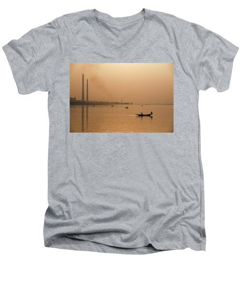 An Industrial Sunset Men's V-Neck T-Shirt