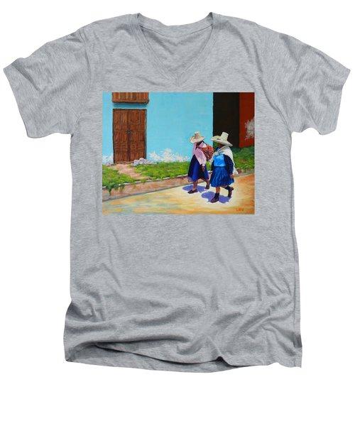 Andean Ladies, Peru Impression Men's V-Neck T-Shirt