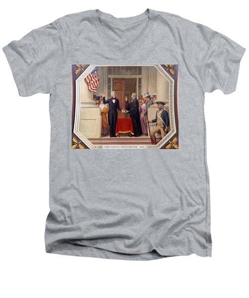 Men's V-Neck T-Shirt featuring the photograph Andrew Jackson At The First Capitol Inauguration - C 1829 by International  Images
