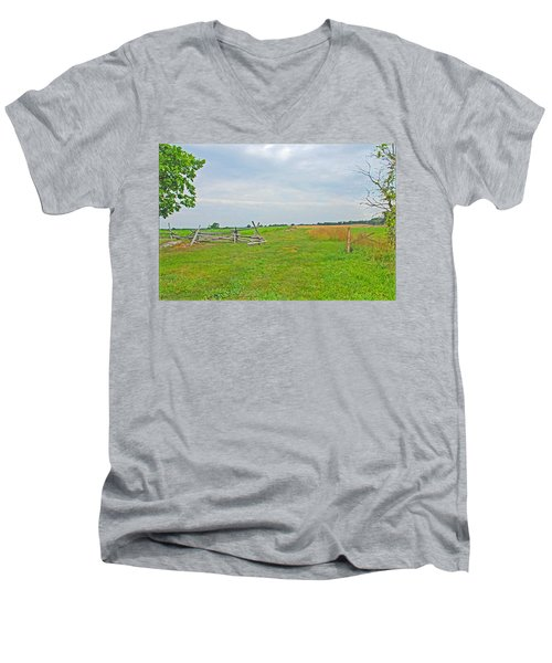 Antietam Battle Of The Cornfield Men's V-Neck T-Shirt by Cindy Manero