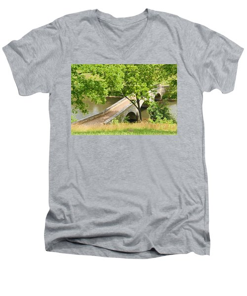 Antietam's Burnside Bridge Men's V-Neck T-Shirt by Cindy Manero