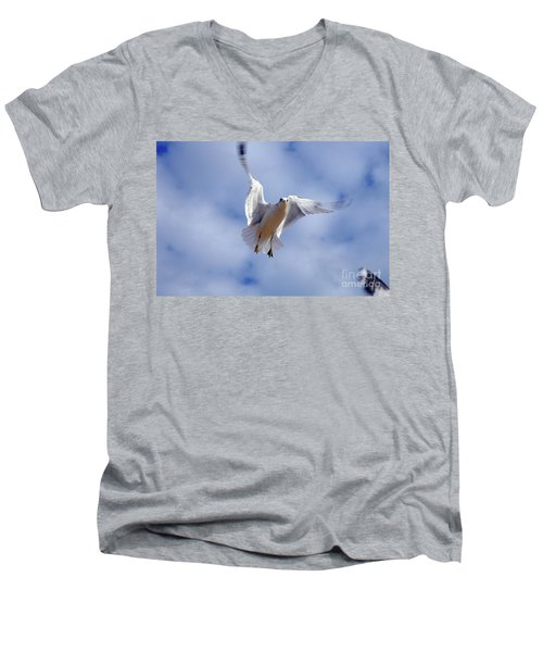 Men's V-Neck T-Shirt featuring the photograph Applying Brakes In Flight by Clayton Bruster