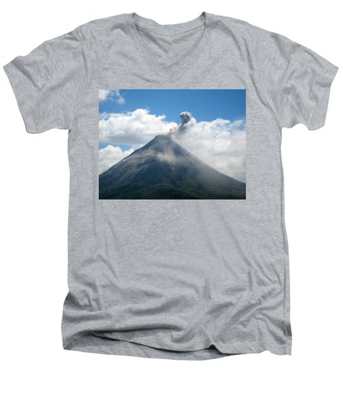 Men's V-Neck T-Shirt featuring the photograph Arenal Eruption by Eric Tressler