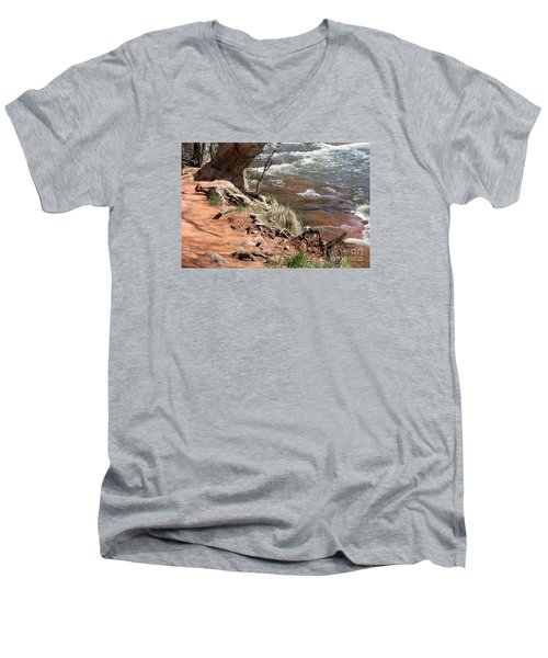 Men's V-Neck T-Shirt featuring the photograph Arizona Red Water by Debbie Hart