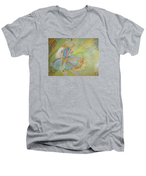 Art Deco Ballet Men's V-Neck T-Shirt by Judith Desrosiers