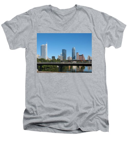 Austin Texas 2012 Skyline And Water Reflections Men's V-Neck T-Shirt by Connie Fox
