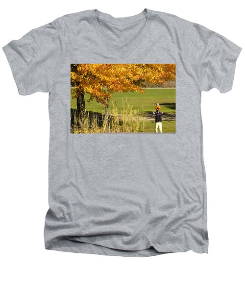Men's V-Neck T-Shirt featuring the photograph Autumn At The Schoolground by Mick Anderson