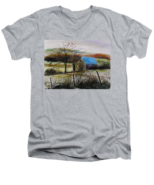 Men's V-Neck T-Shirt featuring the painting Autumn Light By John Williams by John Williams