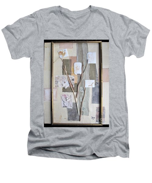 Men's V-Neck T-Shirt featuring the mixed media Autumn by Sandy McIntire