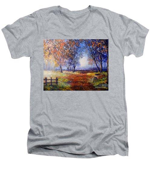 Autumn Wheelbarrow Men's V-Neck T-Shirt by Lou Ann Bagnall