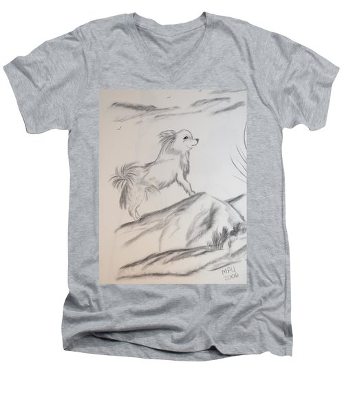 Men's V-Neck T-Shirt featuring the drawing Aye Chihuahua by Maria Urso