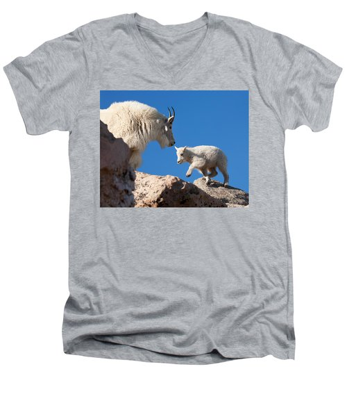 Men's V-Neck T-Shirt featuring the photograph Baby Steps by Jim Garrison