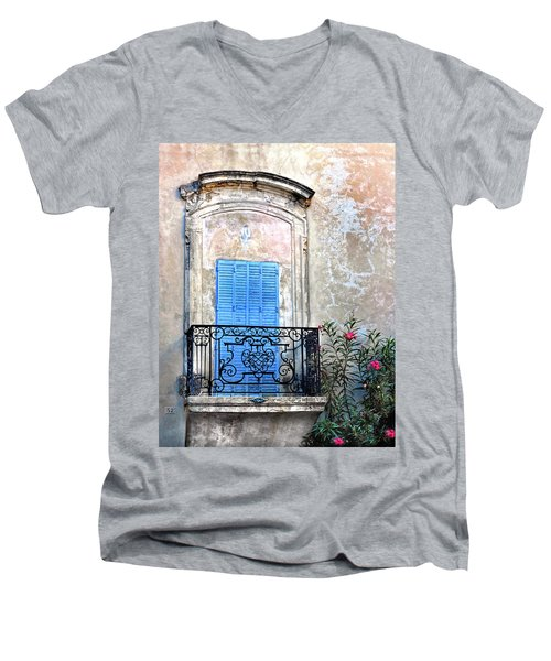 Men's V-Neck T-Shirt featuring the photograph Balcony Provence France by Dave Mills