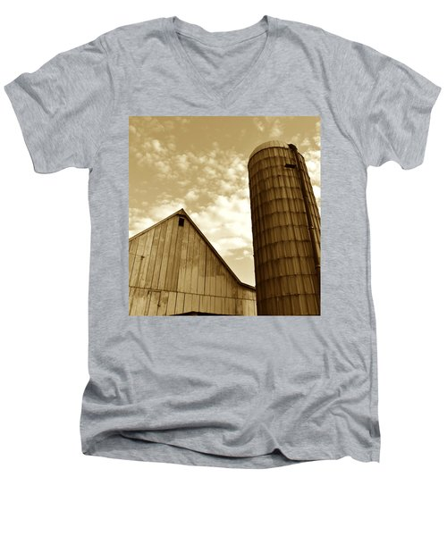 Barn And Silo In Sepia Men's V-Neck T-Shirt