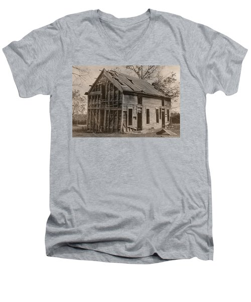 Battered And Leaning Men's V-Neck T-Shirt by Betty Northcutt