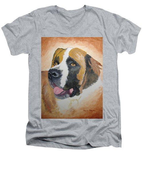 Men's V-Neck T-Shirt featuring the painting Baxter by Norm Starks