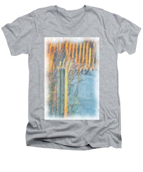 Men's V-Neck T-Shirt featuring the photograph Beach Fence by Lynne Jenkins